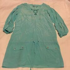 Womens Guess Blue 3/4 Sleeve Silk Tie Waist V Neck Lace Long Shirt Tunic Size 8