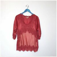 Anthropologie Moulinette Soeurs Red Orange Satin Lace Blouse size small