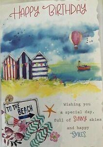 Happy Birthday Sea Side Beach Huts Sunny Birthday Card & Envelope New