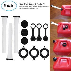 Replacement Spout /& Parts Kit Gas Can Spout Kits Replacement Spout and Vent Kit Plastic Fuel Can Cap Kit 3Pcs Fuel Can Spout Replacements with Gaskets