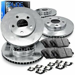 For 2011-2012 Hyundai Elantra Front Rear eLine Plain Brake Rotors+Ceramic Pads