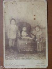 Vecchia foto su cartoncino inizi 900 fotografia antica Ad LOVAZZANO NOVARA bimbi