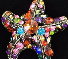 TEAL PINK GREEN RED GOLD OCEAN SEA LIFE SEA STAR STARFISH PIN BROOCH JEWELRY 2""