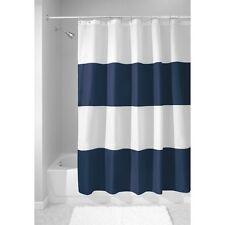 Shower Curtain Thick Stripes Deep Blue And White Bathroom Tub Decor Machine Wash