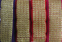 Fancy Gold Embroidery Indian Lace Trim Ethnic Ribbon Craft Sari Border 1 Meter