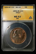 1894 B/I Italy. 10 Centesimi. ANACS Graded MS-63.