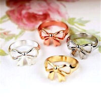 Lovely gold / silver coloured cutout bow ring multiple choices