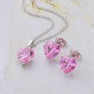 18K White Gold Filled Clear CZ Necklace/Earrings/Pendant Set (S-122)