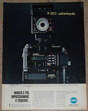 PUBLICITE APPAREIL PHOTO MINOLTA X 700 DE 1983 FRENCH CAMERA AD PUB IMPACT