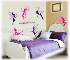 6 Pink Purple Angel Fairy Wall decals Removable stickers decor kids girl nursery