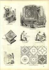 Old Engravings Making Tessellated Tiles Floor Cloth Printing Trowelled Painting