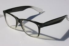 BLACK GRAY Vintage 80's Retro SUN-Glasses NERD CLear Lens