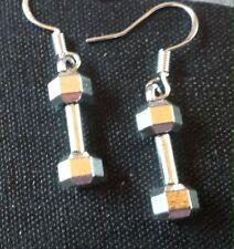 Dumbbell   Earring on 925 Silver Hooks