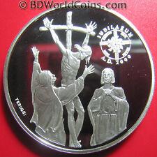1999 ANDORRA 10 DINERS .94oz SILVER PROOF JESUS ON THE CROSS GREAT JUBILEE 2000