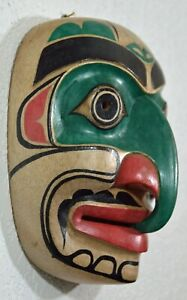 FIRST NATION STYLE PNW GREEN HAWK MASK~ CANADIAN ABORIGINAL STYLE ~ NEW DESIGN!