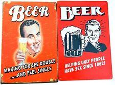 2 x RETRO BEER METAL TIN SIGNS vintage cafe pub bar garage decor