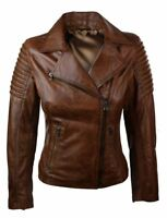 Stylish Women's Authentic Lambskin Real Leather Jacket Slim fit Biker Brown Coat