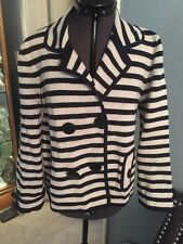 J.CREW WOMEN'S M IVORY NAVY STRIPED DOUBLE BREASTED BLAZER JACKET