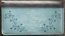 With God All Things Are Possible Checkbook Cover Matt. 19:26 Light Blue