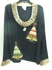 Just B~Sz XL~Black Leopard Fur Sequin Bead Christmas Holiday Cardigan Sweater~F7