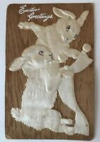 ~Silk Bunny Rabbits Playing ~Antique 1910 SILK~Easter Postcard-a585