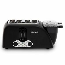 1800 Watt 4 Wide Slot Toaster with Egg Cooker Meat Warmer 8 Egg Capacity NEW