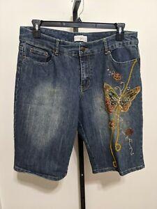 Lane Bryant Venzia Womens Plus Gold Butterfly Embroidery Bermuda Jean Shorts 16