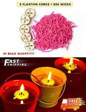 5 floating corks + 500 Wicks -Oil Candle Light, DIY, for Meditation, In Bulk