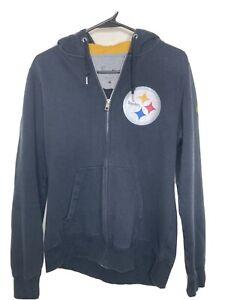 NFL Team Apparel L Mens Pittsburgh Steelers Hoodie Jacket Full Zip  Sweatshirt