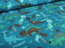 Stoff Baumwolle Jersey Dinos Dinosaurier petrol türkis grün blau Kinderstoff