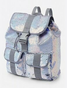 Justice Girl's Silver & Blue Flip Sequin Rucksack Backpack New with Tags