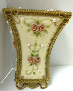 VTG SHABBY CHIC CANDLE WALL SCONCE FLORAL PINK ROSES
