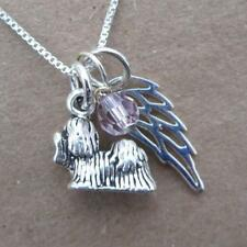 Shih Tzu Mini Angel Wing Sterling Silver Necklace - In Memory - Free Ship