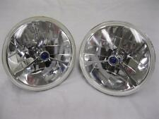 """7"""" Blue Dot GLASS Tri Bar Headlights H4 Bright Fits Ford Chevy Nova 55 56 57 ++"""