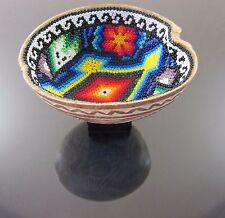 HUICHOL Beaded Art Shaman Prayer Bowl Carved Gourd Mexican Handmade Folk Art