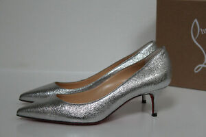 sz 9 / 39 Christian Louboutin Kate 55 Calf Lame Silver Metallic Kitten Heel Shoe