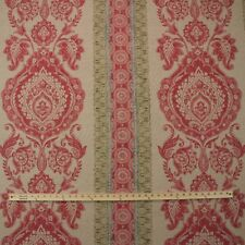 """ACQUITAINE ROCCOCO POMEGRANATE RED DAMASK 100% LINEN FABRIC BY THE YARD 53""""W"""