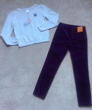 Gymboree Outfit, White Cardigan Sweater & Purple Corduroy Pants, Size 7/8, NEW!
