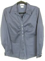 VanHeusen Womens Long Sleeve Blue Stretch Fitted Button Up Blouse Size L W967