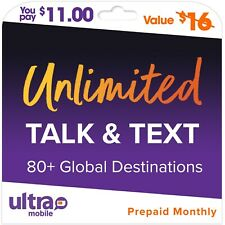 $16/M Ultra Mobile Prepaid Unlimited Talk & Text Phone Plan Sim Card