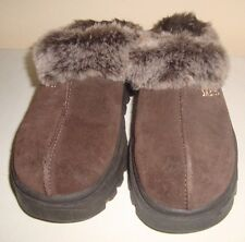 Skechers Brown Fur Fuzzy Mules Shindigs Fortress Slip On Shoes Clogs 6.5 6 1/2