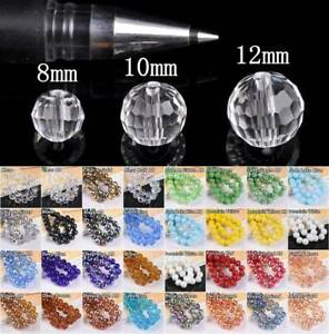 36pcs 8mm 10mm 12mm Round 96Facets Crystal Glass Loose Craft Beads lot Wholesale