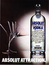 1984 Absolut Attraction Vodka Bottle & Bent Martini Glass photo promo print ad