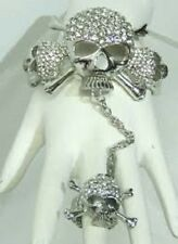 Silver Tone Clear Rhinestone Skull Slave Bracelet Attached to Stretch Ring