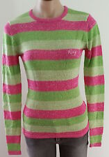 Roxy PINK GREEN SILVER GOLD Metallic Stripe Long Sleeve Casual Jumper size S 10