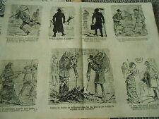1883 Vignettes Clystère L'emploi de l'artillerie humide Vélocipède Mitrailleuse