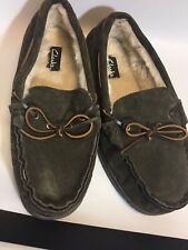 Clarks Slippers 12 soft lined Brown Green Leather Suede Mens