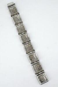 Vintage modernist textured sterling silver link bracelet Robbert Sweden 1970s