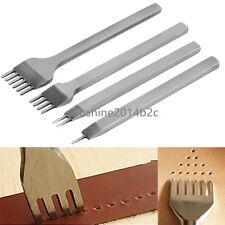 Poliert Leder Werkzeug Locher Stick Werkzeug Set 1+2+4+6 Zinke 3mm 4er Pack DE
