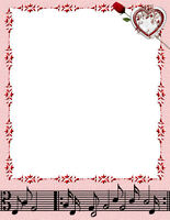Heart & Rose & Music Stationery Printer Paper 26 Sheets